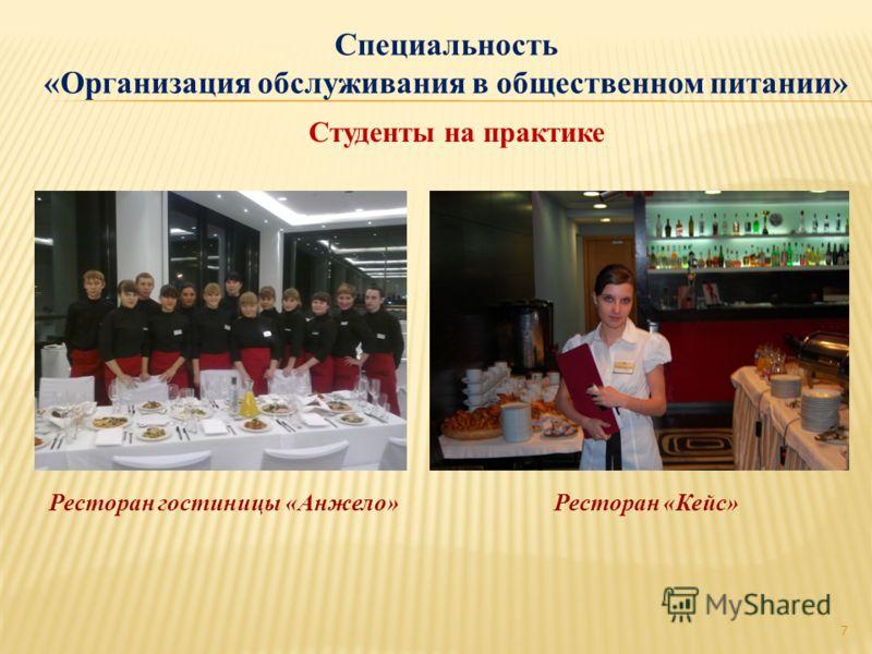 Специальность «Организация обслуживания в общественном питании» 7 Студенты на практике Ресторан гостиницы «Анжело» Ресторан «Кейс»