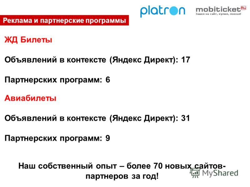 Реклама и партнерские программы ЖД Билеты Объявлений в контексте (Яндекс Директ): 17 Партнерских программ: 6 Наш собственный опыт – более 70 новых сайтов- партнеров за год! Авиабилеты Объявлений в контексте (Яндекс Директ): 31 Партнерских программ: 9