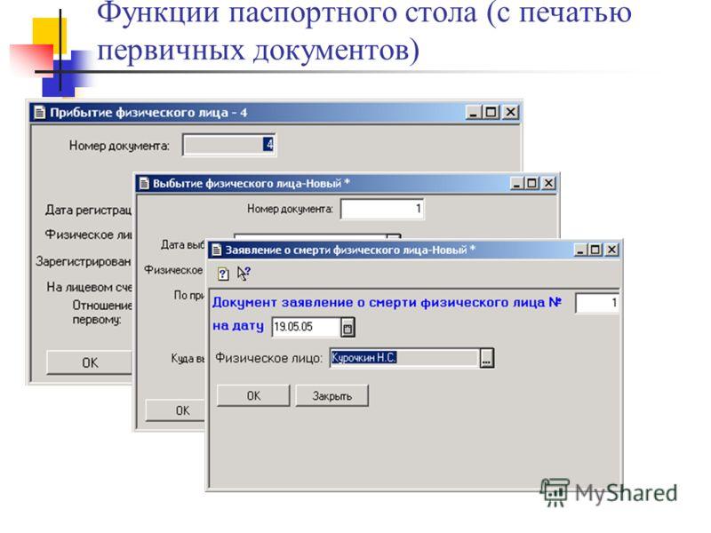 Функции паспортного стола (с печатью первичных документов)