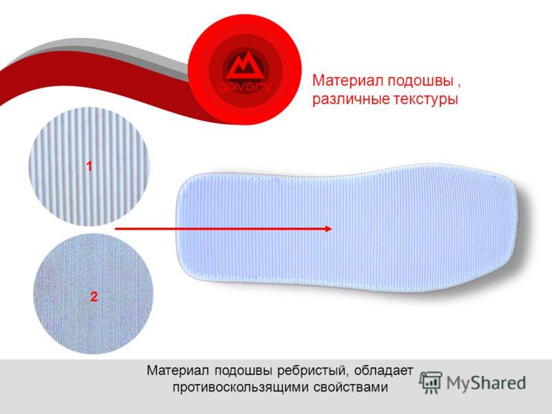 Материал подошвы, различные текстуры Материал подошвы ребристый, обладает противоскользящими свойствами 2 1