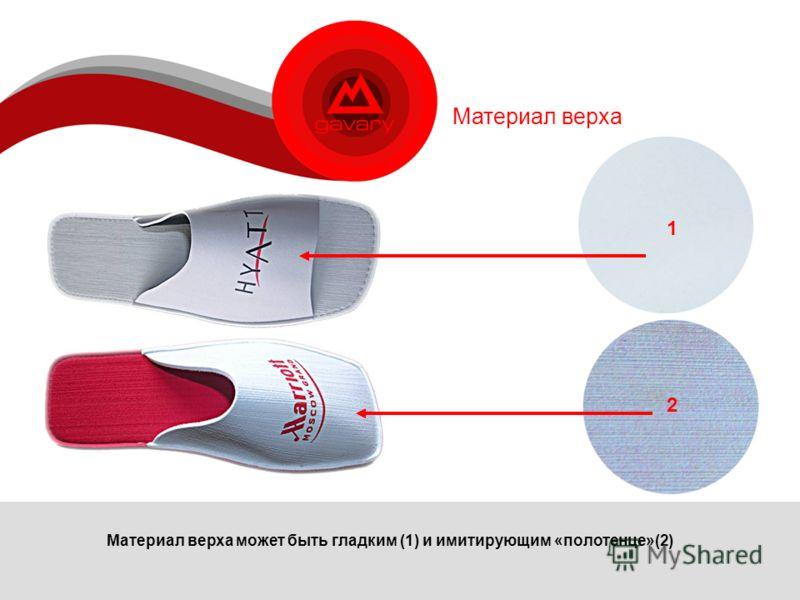 Материал верха Материал верха может быть гладким (1) и имитирующим «полотенце»(2) 2 1