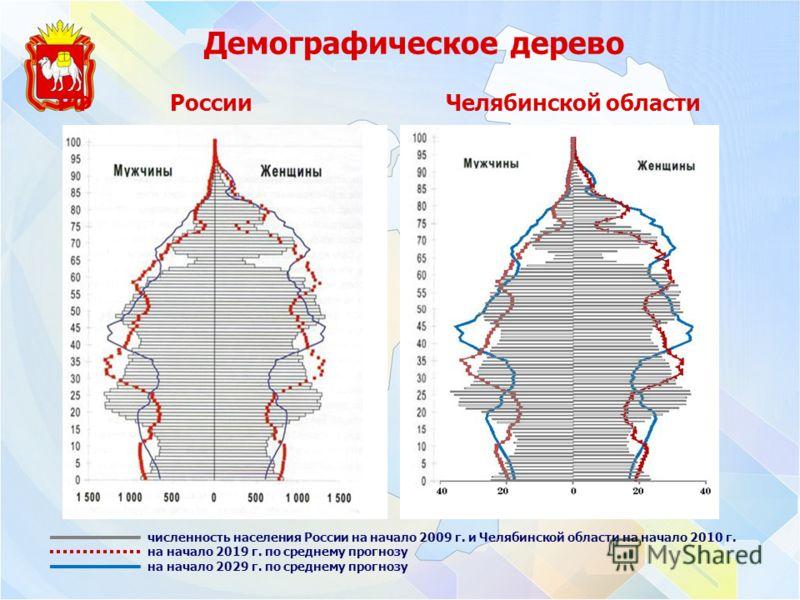 Демографическое дерево РФ России Челябинской области численность населения России на начало 2009 г. и Челябинской области на начало 2010 г. на начало 2019 г. по среднему прогнозу на начало 2029 г. по среднему прогнозу
