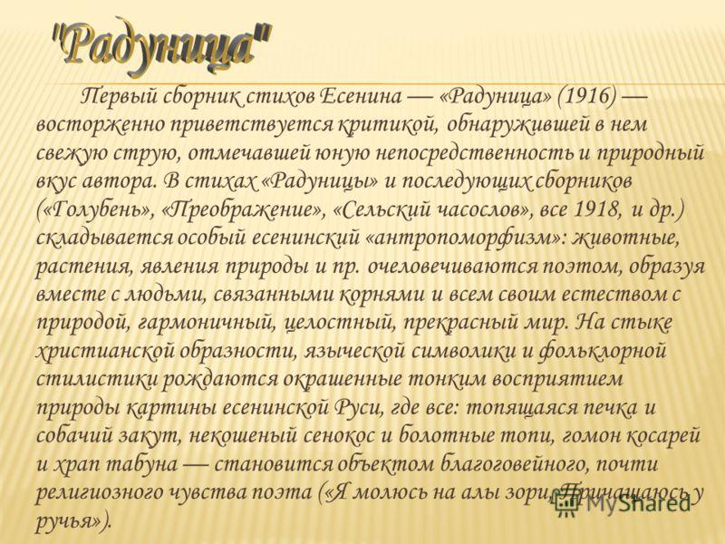 Первый сборник стихов Есенина «Радуница» (1916) восторженно приветствуется критикой, обнаружившей в нем свежую струю, отмечавшей юную непосредственность и природный вкус автора. В стихах «Радуницы» и последующих сборников («Голубень», «Преображение»,