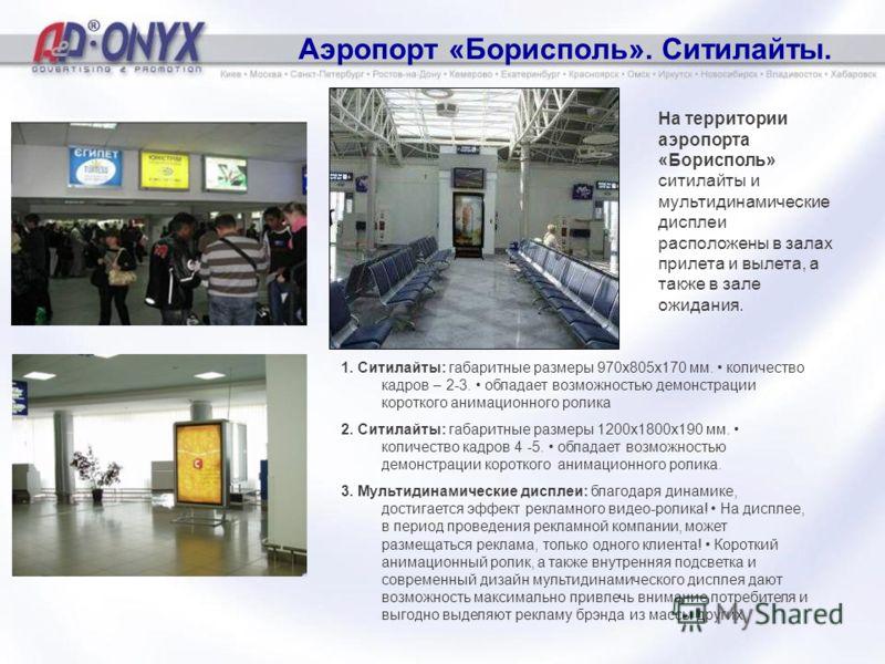 Аэропорт «Борисполь». Ситилайты. На территории аэропорта «Борисполь» ситилайты и мультидинамические дисплеи расположены в залах прилета и вылета, а также в зале ожидания. 1. Ситилайты: габаритные размеры 970х805х170 мм. количество кадров – 2-3. облад