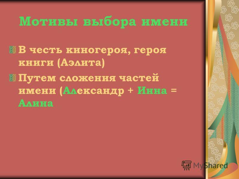 Мотивы выбора имени В честь киногероя, героя книги (Аэлита) Путем сложения частей имени (Александр + Инна = Алина