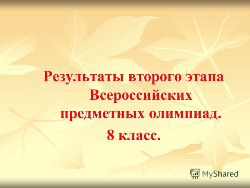 Результаты второго этапа Всероссийских предметных олимпиад. 8 класс.