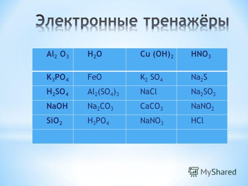 Al 2 O 3 H2OH2OCu (OH) 2 HNO 3 K 3 PO 4 FeOK 2 SO 4 Na 2 S H 2 SO 4 Al 2 (SO 4 ) 3 NaClNa 2 SO 3 NaOHNa 2 CO 3 CaCO 3 NaNO 2 SiO 2 H 3 PO 4 NaNO 3 HCl