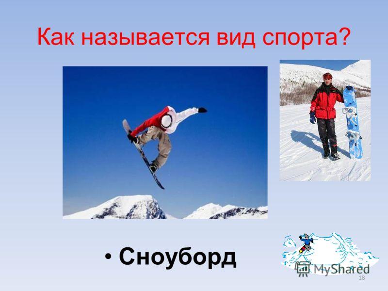18 Сноуборд Как называется вид спорта?