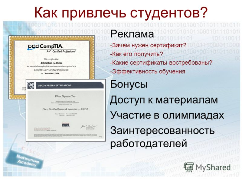 Как привлечь студентов? Реклама -Зачем нужен сертификат? -Как его получить? -Какие сертификаты востребованы? -Эффективность обучения Бонусы Доступ к материалам Участие в олимпиадах Заинтересованность работодателей