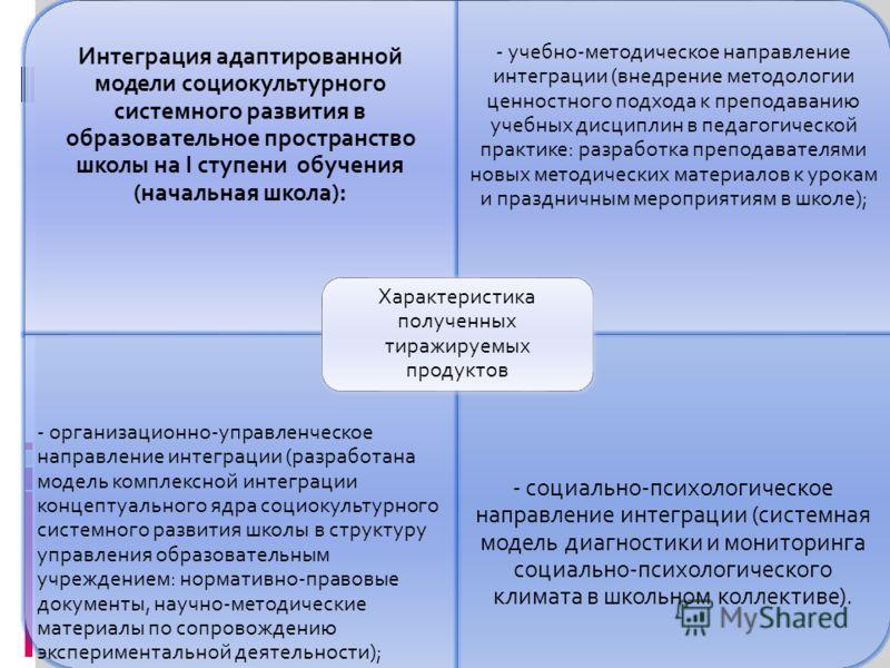 Интеграция адаптированной модели социокультурного системного развития в образовательное пространство школы на I ступени обучения (начальная школа): - учебно-методическое направление интеграции (внедрение методологии ценностного подхода к преподаванию