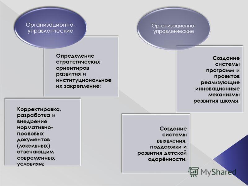 Определение стратегических ориентиров развития и институциональное их закрепление; Корректировка, разработка и внедрение нормативно- правовых документов (локальных) отвечающим современных условиям; Организационно- управленческие Создание системы прог