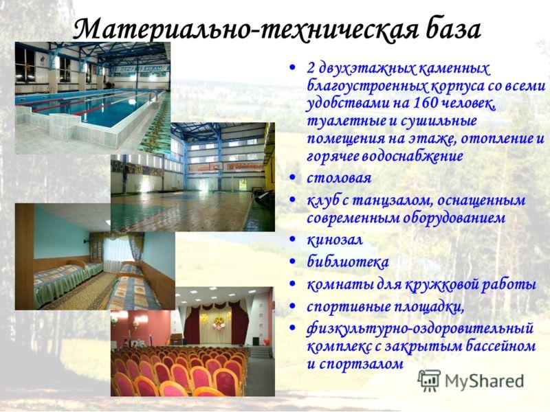 Материально-техническая база 2 двухэтажных каменных благоустроенных корпуса со всеми удобствами на 160 человек, туалетные и сушильные помещения на этаже, отопление и горячее водоснабжение столовая клуб с танцзалом, оснащенным современным оборудование