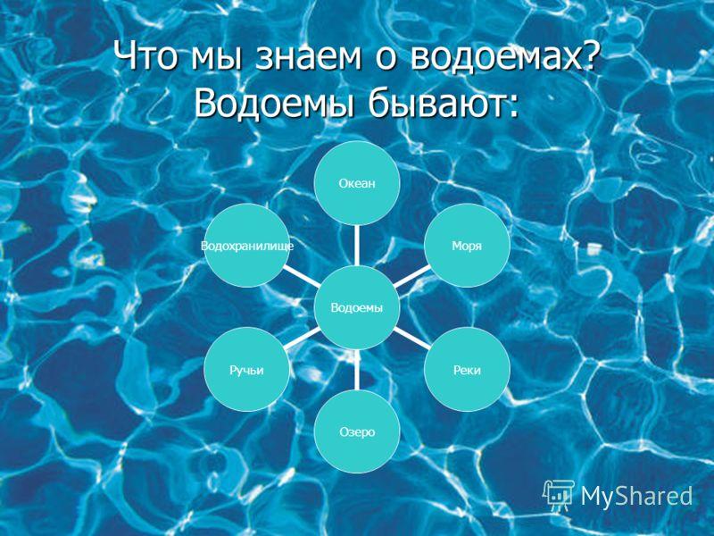 Что мы знаем о водоемах? Водоемы бывают: Водоемы ОкеанМоряРекиОзероРучьиВодохранилище
