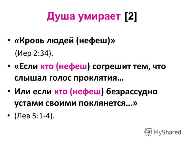 Душа умирает [2] «Кровь людей (нефеш)» (Иер 2:34). «Если кто (нефеш) согрешит тем, что слышал голос проклятия… Или если кто (нефеш) безрассудно устами своими поклянется…» (Лев 5:1-4).
