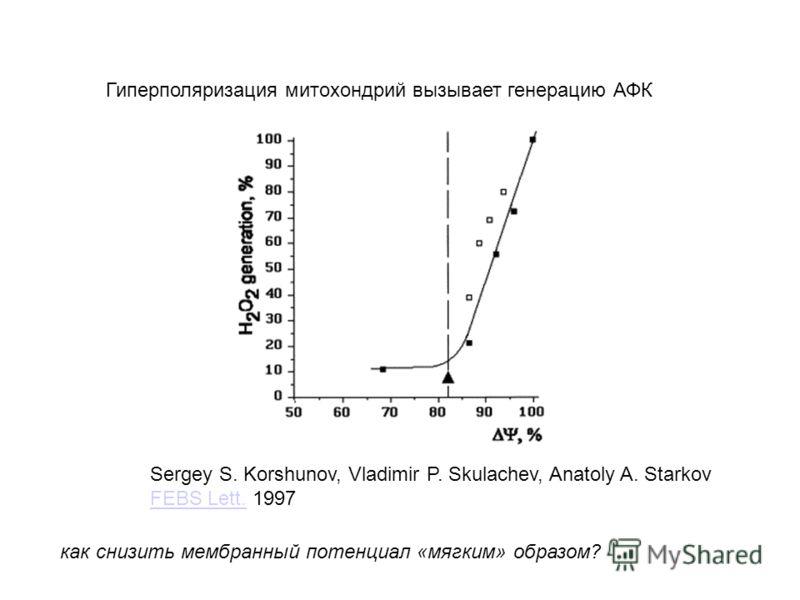 Гиперполяризация митохондрий вызывает генерацию АФК Sergey S. Korshunov, Vladimir P. Skulachev, Anatoly A. Starkov FEBS Lett.FEBS Lett. 1997 как снизить мембранный потенциал «мягким» образом?