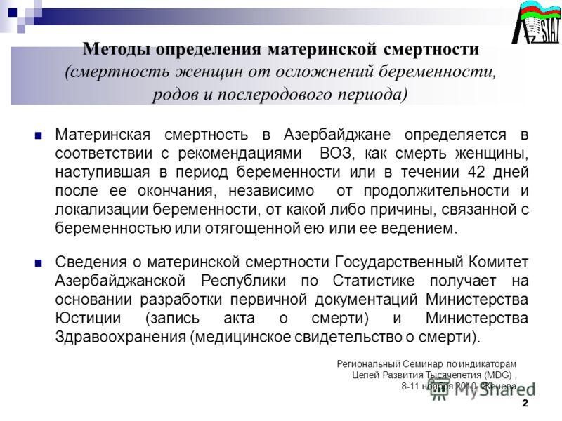 Методы определения материнской смертности (смертность женщин от осложнений беременности, родов и послеродового периода) Материнская смертность в Азербайджане определяется в соответствии с рекомендациями ВОЗ, как смерть женщины, наступившая в период б