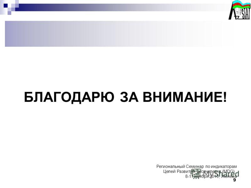 9 БЛАГОДАРЮ ЗА ВНИМАНИЕ! Региональный Семинар по индикаторам Целей Развития Тысячелетия (MDG), 8-11 ноября 2010, Женева