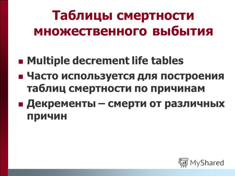 Multiple decrement life tables Часто используется для построения таблиц смертности по причинам Декременты – смерти от различных причин