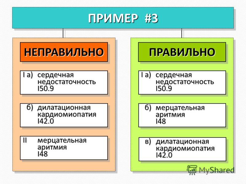 ПРИМЕР #3 НЕПРАВИЛЬНОНЕПРАВИЛЬНО I а)сердечная недостаточность I50.9 б)дилатационная кардиомиопатия I42.0 б)дилатационная кардиомиопатия I42.0 IIмерцательная аритмия I48 ПРАВИЛЬНОПРАВИЛЬНО I а)сердечная недостаточность I50.9 б)мерцательная аритмия I4
