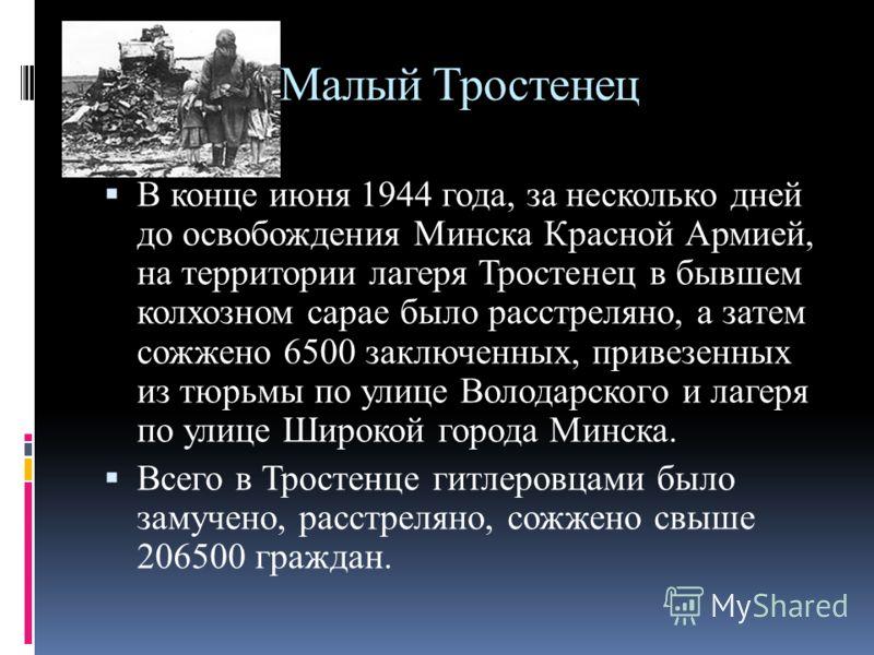 Малый Тростенец В конце июня 1944 года, за несколько дней до освобождения Минска Красной Армией, на территории лагеря Тростенец в бывшем колхозном сарае было расстреляно, а затем сожжено 6500 заключенных, привезенных из тюрьмы по улице Володарского и