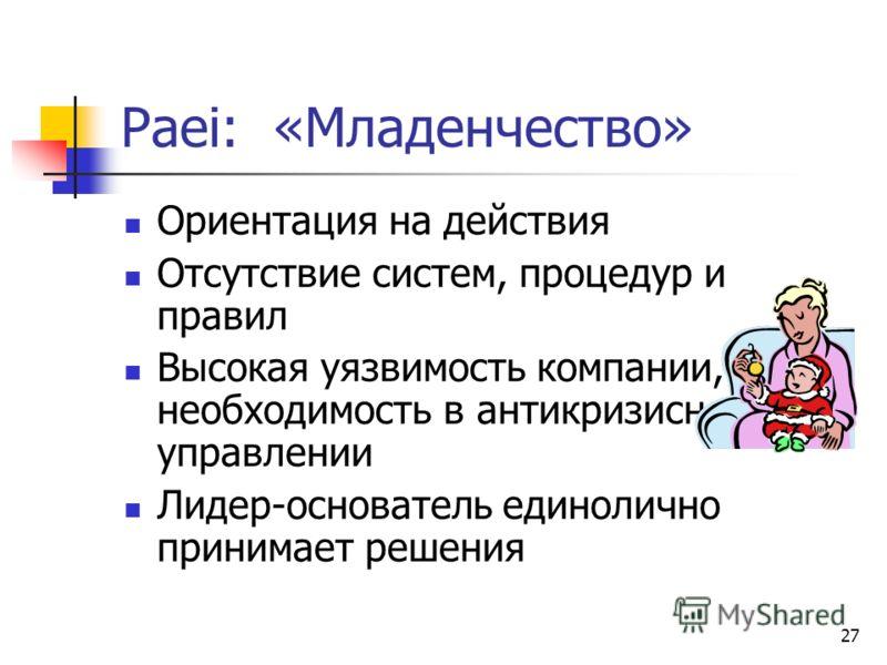 27 Paei: «Младенчество» Ориентация на действия Отсутствие систем, процедур и правил Высокая уязвимость компании, необходимость в антикризисном управлении Лидер-основатель единолично принимает решения