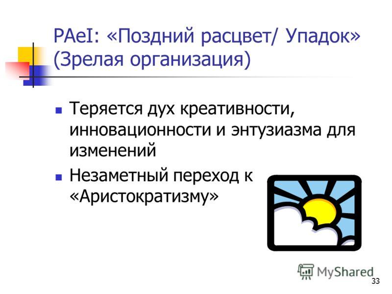 33 PАeI: «Поздний расцвет/ Упадок» (Зрелая организация) Теряется дух креативности, инновационности и энтузиазма для изменений Незаметный переход к «Аристократизму»