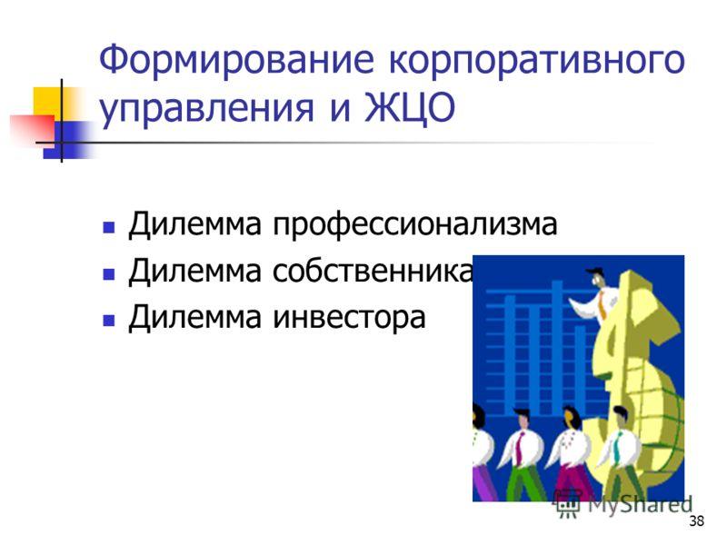 38 Формирование корпоративного управления и ЖЦО Дилемма профессионализма Дилемма собственника Дилемма инвестора