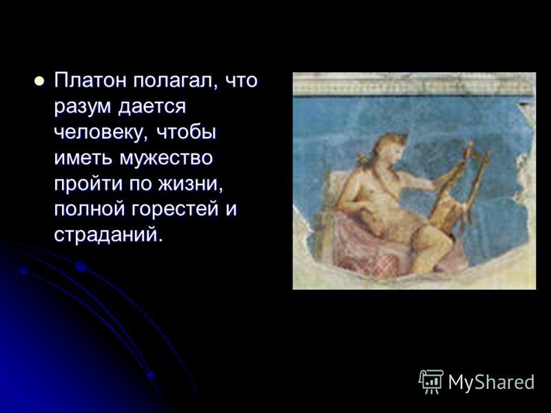 Платон полагал, что разум дается человеку, чтобы иметь мужество пройти по жизни, полной горестей и страданий. Платон полагал, что разум дается человеку, чтобы иметь мужество пройти по жизни, полной горестей и страданий.
