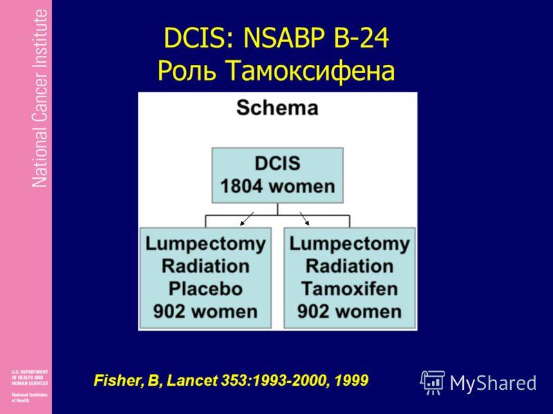 DCIS: NSABP B-24 Роль Тамоксифена Fisher, B, Lancet 353:1993-2000, 1999