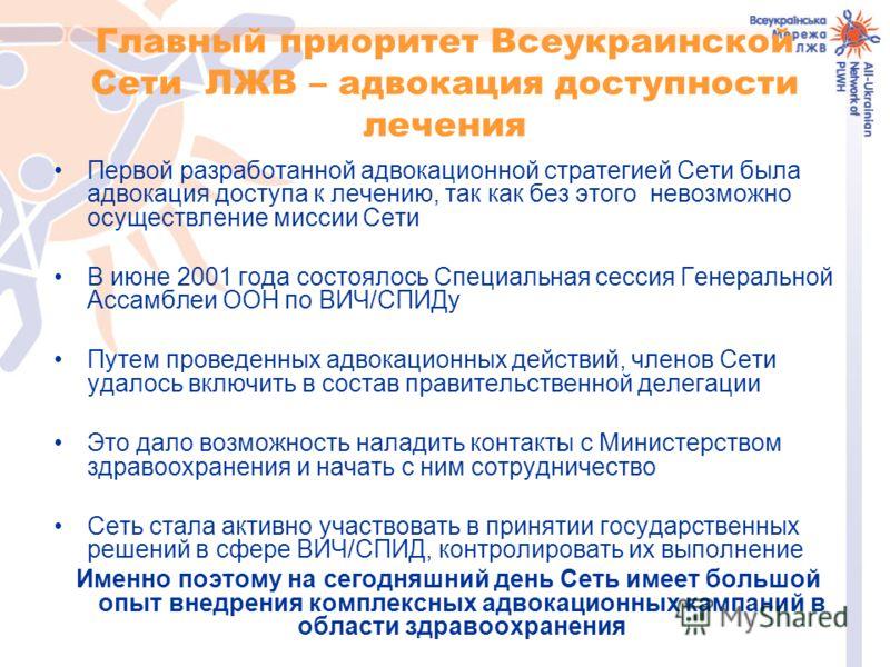 Главный приоритет Всеукраинской Сети ЛЖВ – адвокация доступности лечения Первой разработанной адвокационной стратегией Сети была адвокация доступа к лечению, так как без этого невозможно осуществление миссии Сети В июне 2001 года состоялось Специальн
