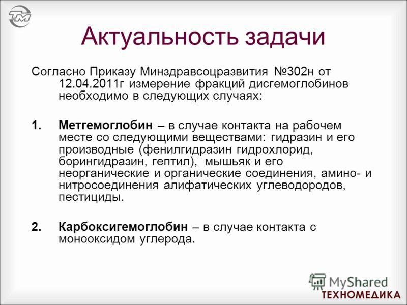 Актуальность задачи Согласно Приказу Минздравсоцразвития 302н от 12.04.2011г измерение фракций дисгемоглобинов необходимо в следующих случаях: 1.Метгемоглобин – в случае контакта на рабочем месте со следующими веществами: гидразин и его производные (