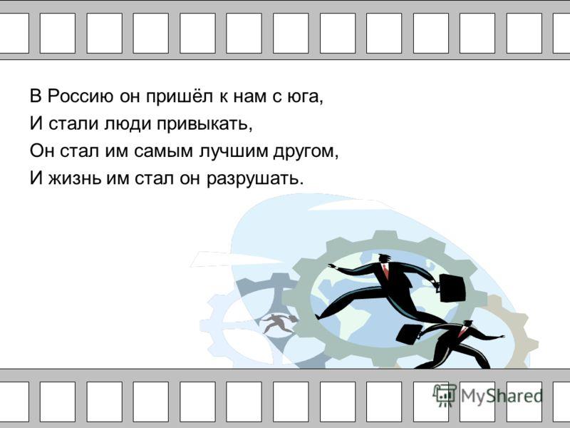 В Россию он пришёл к нам с юга, И стали люди привыкать, Он стал им самым лучшим другом, И жизнь им стал он разрушать.