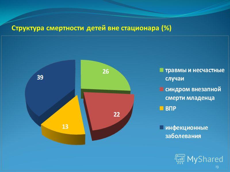 Структура смертности детей вне стационара (%) 13