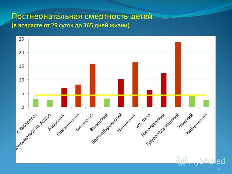Постнеонатальная смертность детей (в возрасте от 29 суток до 365 дней жизни) 17