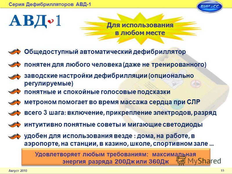 Серия Дефибрилляторов АВД-1 Август 2010 15 Для использования в любом месте Удовлетворяет любым требованиям : максимальная энергия разряда 200 Дж или 360 Дж Общедоступный автоматический дефибриллятор заводские настройки дефибрилляции ( опционально рег