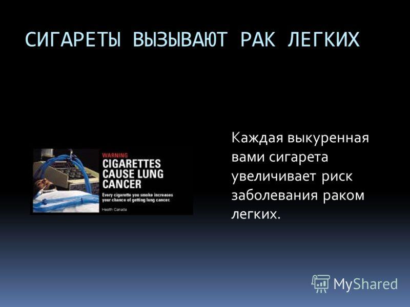 СИГАРЕТЫ ВЫЗЫВАЮТ РАК ЛЕГКИХ Каждая выкуренная вами сигарета увеличивает риск заболевания раком легких.