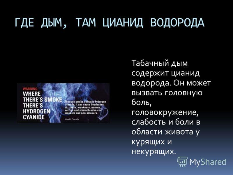 ГДЕ ДЫМ, ТАМ ЦИАНИД ВОДОРОДА Табачный дым содержит цианид водорода. Он может вызвать головную боль, головокружение, слабость и боли в области живота у курящих и некурящих.