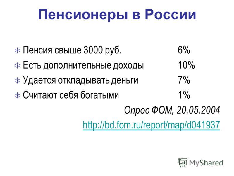 Пенсионеры в России Пенсия свыше 3000 руб.6% Есть дополнительные доходы10% Удается откладывать деньги7% Считают себя богатыми1% Опрос ФОМ, 20.05.2004 http://bd.fom.ru/report/map/d041937