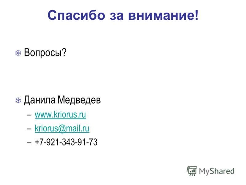 Спасибо за внимание! Вопросы? Данила Медведев –www.kriorus.ruwww.kriorus.ru –kriorus@mail.rukriorus@mail.ru –+7-921-343-91-73