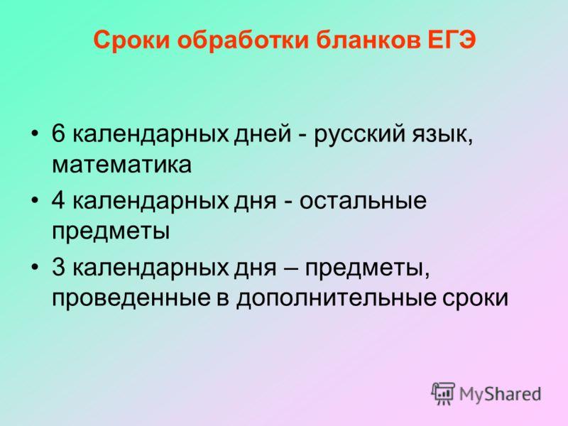 Сроки обработки бланков ЕГЭ 6 календарных дней - русский язык, математика 4 календарных дня - остальные предметы 3 календарных дня – предметы, проведенные в дополнительные сроки