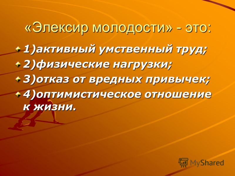 «Элексир молодости» - это: 1)активный умственный труд; 2)физические нагрузки; 3)отказ от вредных привычек; 4)оптимистическое отношение к жизни.