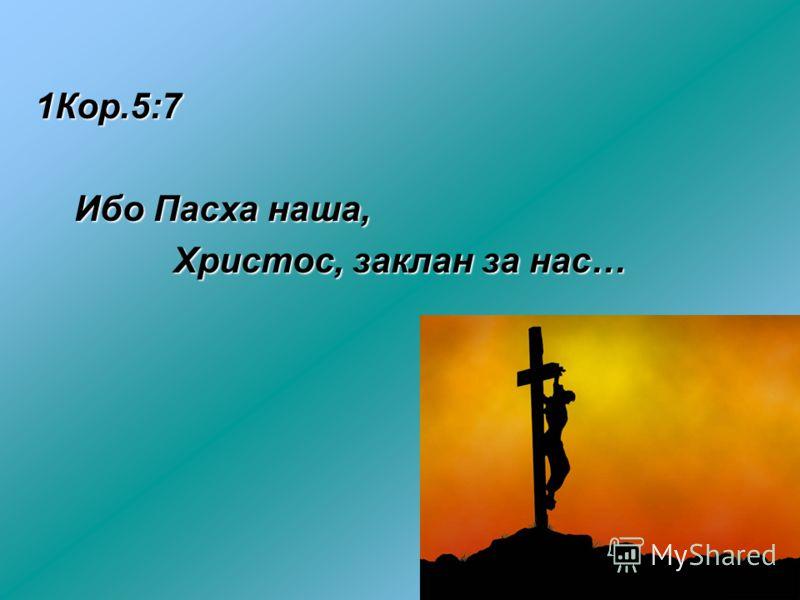 1Кор.5:7 Ибо Пасха наша, Ибо Пасха наша, Христос, заклан за нас… Христос, заклан за нас…