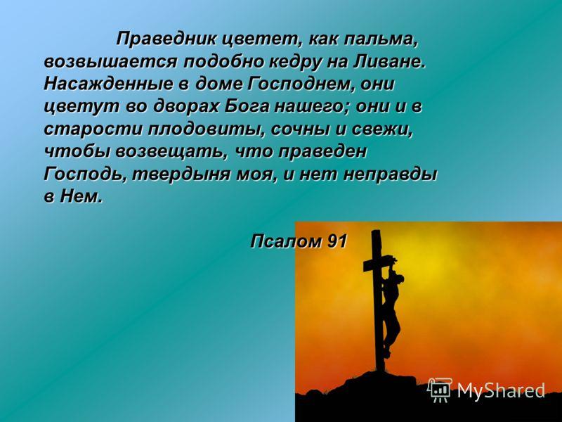 Праведник цветет, как пальма, возвышается подобно кедру на Ливане. Насажденные в доме Господнем, они цветут во дворах Бога нашего; они и в старости плодовиты, сочны и свежи, чтобы возвещать, что праведен Господь, твердыня моя, и нет неправды в Нем. П