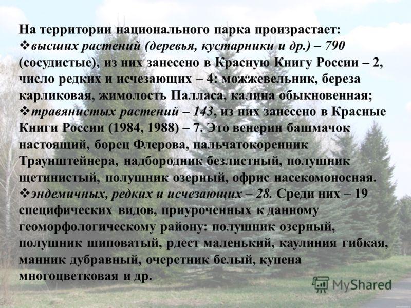 На территории национального парка произрастает: высших растений (деревья, кустарники и др.) – 790 (сосудистые), из них занесено в Красную Книгу России – 2, число редких и исчезающих – 4: можжевельник, береза карликовая, жимолость Палласа, калина обык