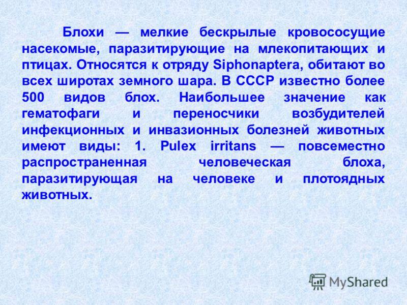 Блохи мелкие бескрылые кровососущие насекомые, паразитирующие на млекопитающих и птицах. Относятся к отряду Siphonaptera, обитают во всех широтах земного шара. В СССР известно более 500 видов блох. Наибольшее значение как гематофаги и переносчики воз