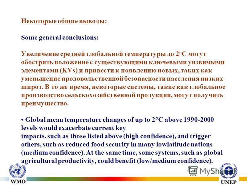Некоторые общие выводы: Some general conclusions: Увеличение средней глобальной температуры до 2 о С могут обострить положение с существующими ключевыми уязвимыми элементами (KVs) и привести к появлению новых, таких как уменьшение продовольственной б