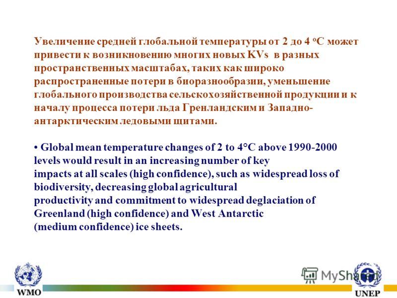 Увеличение средней глобальной температуры от 2 до 4 о С может привести к возникновению многих новых KVs в разных пространственных масштабах, таких как широко распространенные потери в биоразнообразии, уменьшение глобального производства сельскохозяйс
