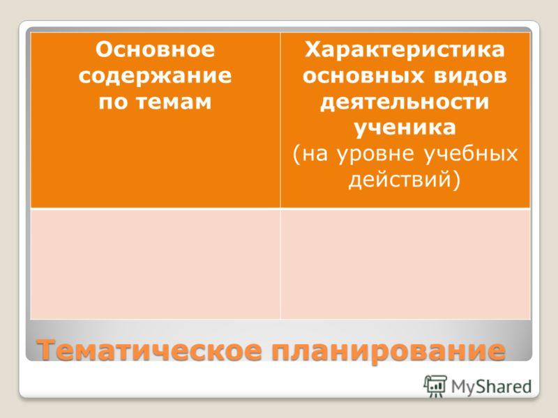 Тематическое планирование Основное содержание по темам Характеристика основных видов деятельности ученика (на уровне учебных действий)