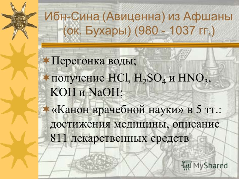 Ибн-Сина (Авиценна) из Афшаны (ок. Бухары) (980 - 1037 гг.)