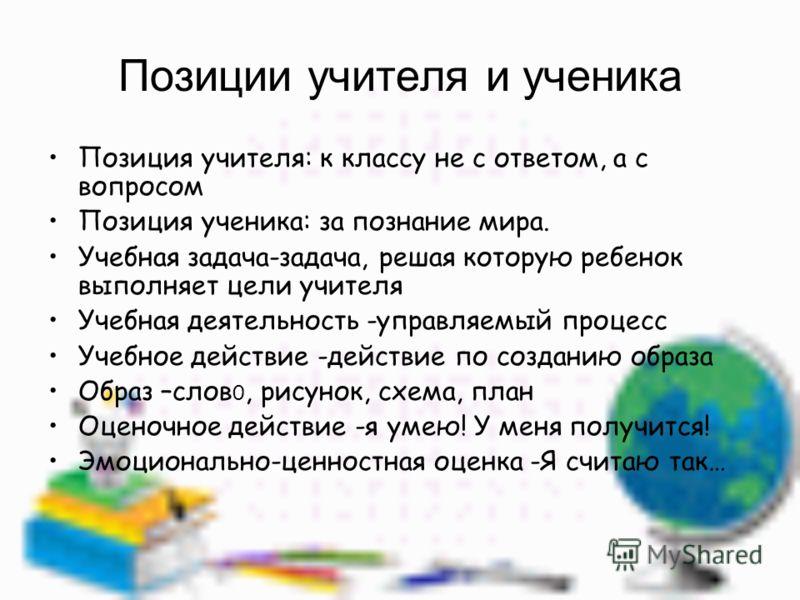 Позиции учителя и ученика Позиция учителя: к классу не с ответом, а с вопросом Позиция ученика: за познание мира. Учебная задача-задача, решая которую ребенок выполняет цели учителя Учебная деятельность -управляемый процесс Учебное действие -действие
